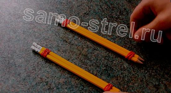 Мини арбалет из карандашей - Скрепите резинками карандаши