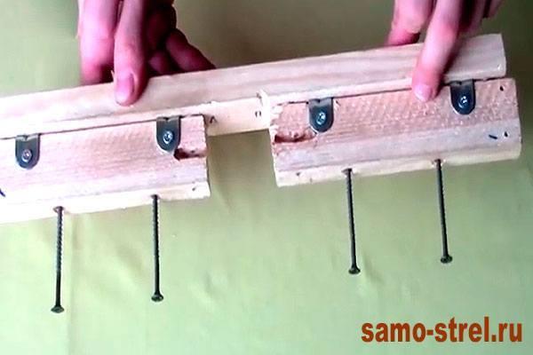 Как сделать блочный лук - Прикрутите планки длинными саморезами (how to make the compound bow )